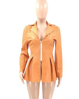 V Neck Long Sleeve Zipper Warmth Preservation Leather Jacket