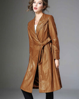 V Neck PU Leather Wind Proof Middle Length Coat