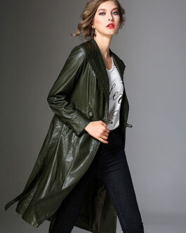 V Neck PU Leather Wind Proof Middle Length Coat