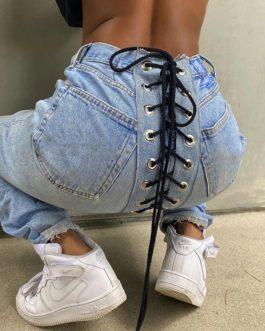 Vintage High Waist Color Blocking Denim Trousers Pants