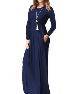 Casual Attire Jersey Cotton Knit Fabric Long Sleeve Maxi Dress