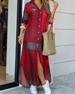 Casual Plaid Print Irregular Split Hem Maxi Shirts Dress with Side Pockets