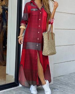 Casual Plaid Print Irregular Split Hem Maxi Shirts Dress with Side Pockets