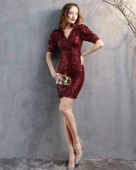 Casual Sexy V Neck Sequined Party Dresses