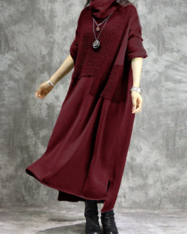 Casual Solid Color Long Sleeve Maxi Dress