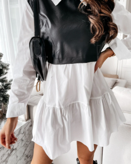 Chic fake two piece stitching dress