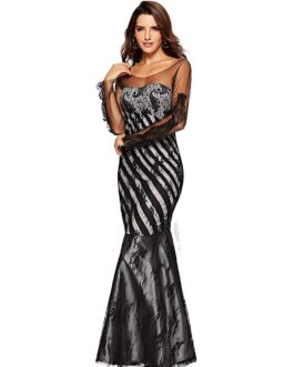 Elegant Mesh Lace Patchwork Long-sleeve Fish-tail Party Dress