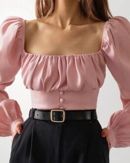 Fashion Square Neck Ruched Puff Sleeve Blouse