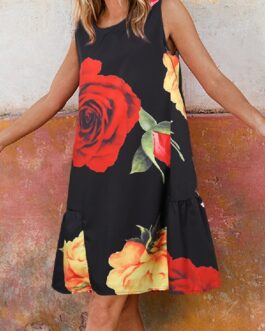 Flower Print O-neck Sleeveless A-Line Pleated Dress