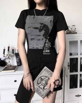 Gothic Cotton Bodycon Long Sleeves Retro Dress