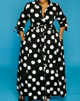 Long Sleeve Dot Print Plus Size Maxi Dress