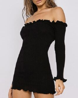 Long Sleeve Ruffle Off The Shoulder Sweater Dress