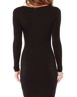 Long Sleeves Round Neckline Mini Dress