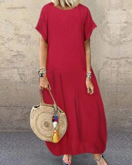 Loose Short Sleeve Solid Casual Long Maxi Dress