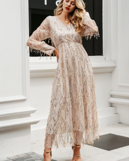 Mesh long sleeve sequin night maxi dress