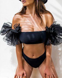 Mesh sleeve casual bandeau bikini