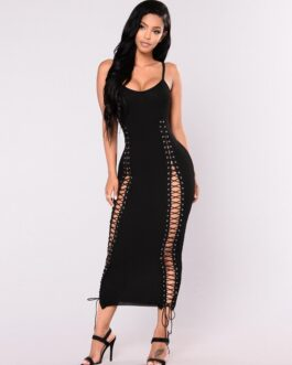 Night Club Bandage Eyelet Maxi Dress
