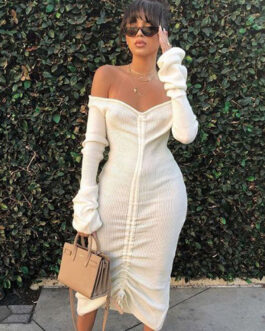Off Shoulder Solid Long Sleeve Maxi Dress