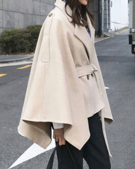 Poncho Turndown Collar Long Sleeve Polyester Oversized Cape