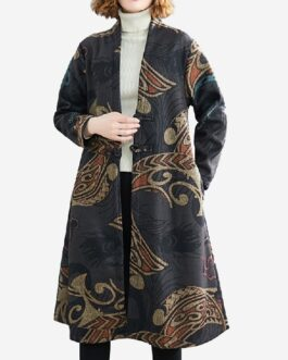 Print Woolen Plus Velvet Thickening Long Coat Windbreaker