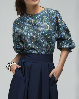 Printed Top and Pleated Tea Length Dress