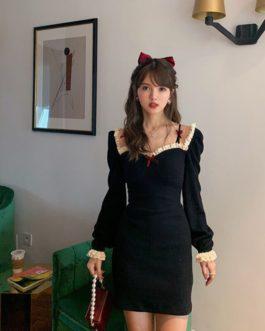 Retro Elegant High Waist Long Sleeve Dress