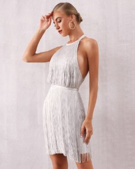 Sexy Celebrity Evening Party Mini Halter Fringe Club Dress