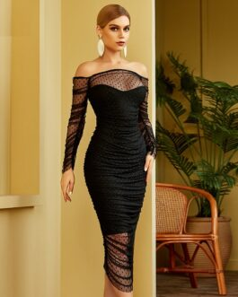 Sexy Lace Slash Neck Long Sleeve Club Celebrity Runway Party  Body con Bandage Dress