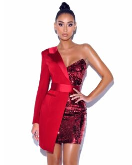 Sexy One Shoulder Long Sleeve Mini Body con Sequins Dress