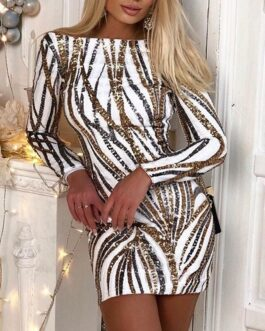 Sexy Sequin backless stripe crew neck slim Long sleeves dress