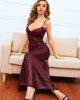 Sexy Sequined Camisole Maxi Party Wear Dress