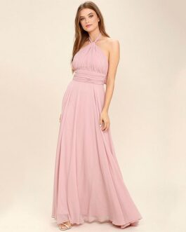 Sexy Solid Color Chiffon Backless Halter Pattern Party Dress