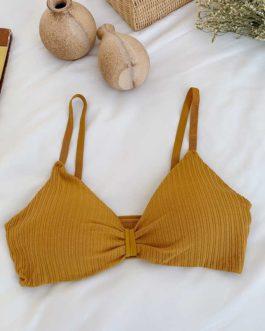 Sexy Women Solid Color Rib-knit Soft Cotton Bra