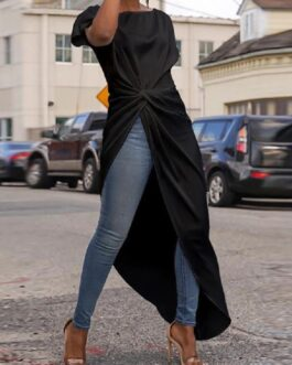 Short Sleeve Crew Neck Long Shirts Asymmetric Hem Casual Blouse