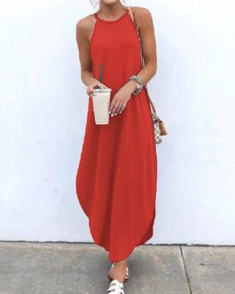 Sleeveless Straps High Low Hem Solid Causal Maxi Dress