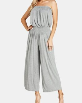 Solid Color Elastic Waist Off-shoulder Long Casual Jumpsuit