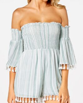 Striped Print Tassel Hem Off-shoulder Short Sleeve Casual Romper