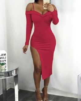 Sweetheart Neckline Thin Shoulder Straps Side Split Party Dress