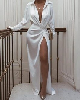 Turndown Neck Long Sleeve Long Wrap Dress