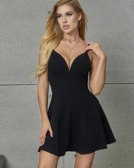 V Neck Long Sleeves Backless Sexy Fit Skater Dresses