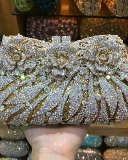 Vintage Diamonds Rhinestones Clutch Handbag Coin Purse