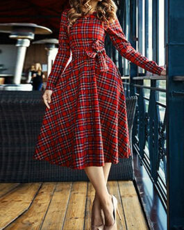 Vintage Midi Dress – Plaid / Full Length Sleeves / Bow Belted