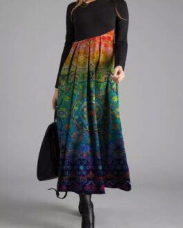 Vintage Printed Asymmetrical Patchwork Dress
