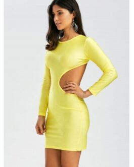 Backless Mini Cut Out Bodycon Club Dress
