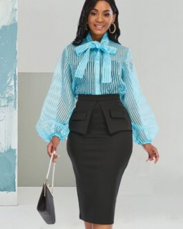 Bow Neck Striped 2 Piece Skirt Set