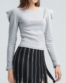 Casual Fitted Versatile Solid Long Sleeve T-Shirt