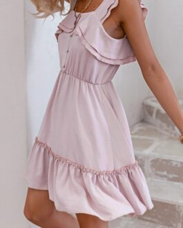 Casual Ruffle retro pleated solid A-line vintage short dress