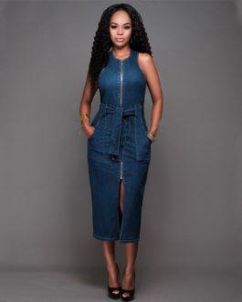 Casual Sleeveless Front Zipper Split Denim Midi Dress