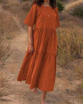Casual Square Neck Half Sleeve Pleated Maxi Dress