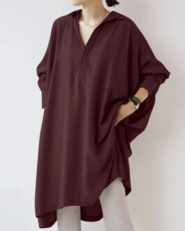 Casual V-Neck Long Sleeve Split Hem Loose Shirt